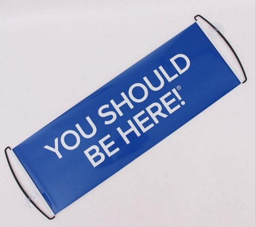 Hand Held Scrolling Custom You Should Be Here Banner